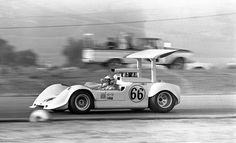 Jim Hall driving his Chaparral 2G at Riverside, 1968.