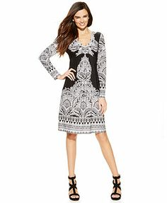 INC International Concepts Long-Sleeve Paisley-Print Dress