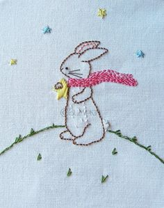 Vintage Embroidery Hand Embroidery PDF Pattern Reach for the Stars Bunny by Bumpkin, - Hand Embroidery Patterns Free, Baby Embroidery, Hand Embroidery Stitches, Vintage Embroidery, Cross Stitch Embroidery, Machine Embroidery, Hand Stitching, Local Embroidery, Embroidery Ideas