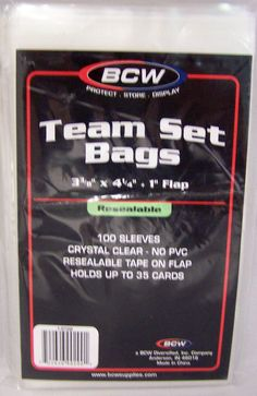 "2 Packs of (100) BCW Team Set Bags Resealable 3 3/8"" x 5"" w/ 1 "" flap"
