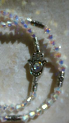 Swarovski Hamsa Beaded Stretch Bracelets 2 set 6.7-7' White or Capri Blue #lihangmad6 #Shamballa