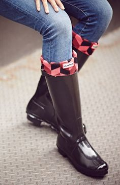 Love these Hunter Boot socks in red geometric - a pair can totally freshen up your old boots.