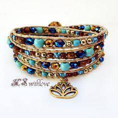 Boho Chic Bracelet Blue Turquoise Wrap Bracelet by MSwithlove