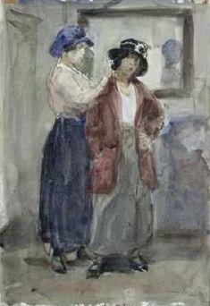 Isaac Israëls - Bij de hoedenmodiste 1905 Renoir, Monet, Painted Hats, Dutch Painters, The Hague, Fashion Painting, Acrylic Art, Watercolor And Ink, Gouache
