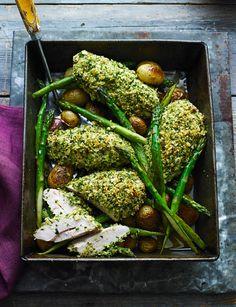 Salsa verde chicken tray-bake http://www.sainsburysmagazine.co.uk/recipes/mains/chicken-and-game-2/item/salsa-verde-chicken