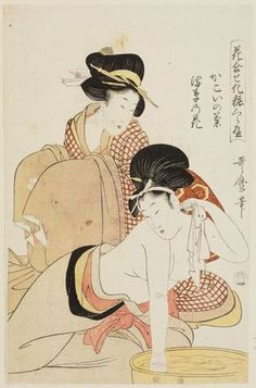 Kitagawa Utamaro: A Chrysanthemum of the Enclosed Quarter and a Waterweed Flower (Kakoi no kiku, ukigusa no hana), from the series Matching Flowers and Comparing Makeup (Hana awase keshô kurabe) - Museum of Fine Arts Japanese Art Prints, Japanese Drawings, Japanese Painting, Geisha Kunst, Geisha Art, Ancient Japanese Art, Traditional Japanese Art, Kunsthistorisches Museum, Sketches