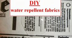 Wesens-Art: DIY water repellent fabrics / DIY wasserabweisende Stoffe