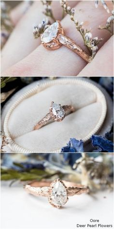 15 Alternative Engagement Rings from Etsy Pear moissanite leaf twig engagement ring, nature engagement ring Alternative Engagement Rings, Rose Gold Engagement Ring, Vintage Engagement Rings, Halo Engagement, Nature Engagement Rings, Delicate Rings, Unique Rings, Wedding Rings Simple, Ring Verlobung