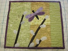 Dragonfly in the Pussy Willows Mug Rug by jamleft, via Flickr