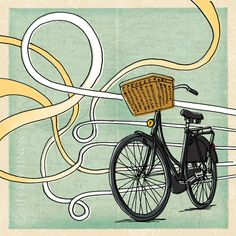 8x10 illustration print Taking the Scenic Route bike by AlexWijnen, $25.00