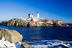 Sally Lee by the Sea: Snowy  -Lighthouses.  Love Nubble Light in Maine