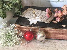 Vintage Christbaumschmuck silberne und rote Kugel leonische