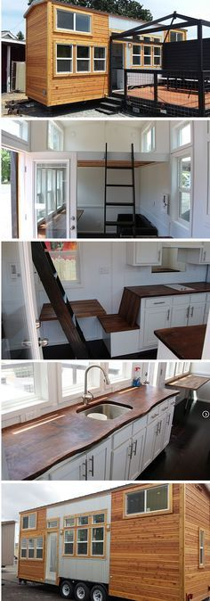 The Grand Teton tiny house, from Tiny Mountain Homes. A tiny house with a wood exterior and bright, white interior. I like the little kitchen bench. Can it lift up n lock to make more counter space? Tiny House On Wheels, Small House Plans, Tiny House Living, Small Living, Living Room, Home Bar Counter, Wood Counter, Copper Counter, Quartz Counter