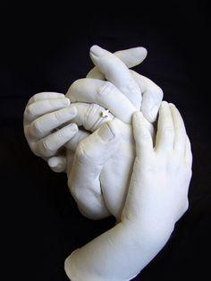 FAMILY SIZE Clasped Group Hand Molding /& Castin... XL Luna Bean KEEPSAKE HANDS