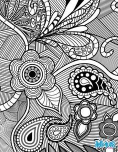 Flowers & Paisley Design adult coloring page