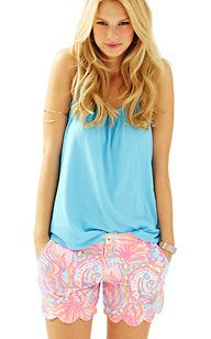 """5"""" Buttercup Scallop Hem Short in Pink Pout Too Much Bubbly  Lilly Pulitzer"""