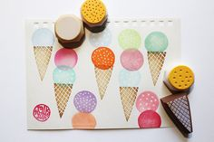 ice cream rubber stamp set. hand carved rubber by talktothesun, $16.00
