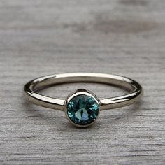 Afghan Tourmaline and Recycled 14k White Gold Ring, Size 8 by Tamara McFarland from Etsy Shop mcfarlanddesigns