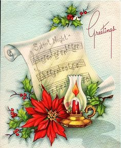Love the combination of images and music sheet - must try this with my stamps Christmas Scenes, Christmas Love, Christmas Pictures, Christmas Greetings, Christmas Horses, Images Vintage, Vintage Christmas Images, Vintage Holiday, Christmas Lanterns