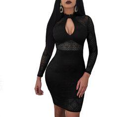 Black Lace Cut Out Zipper Slit Bodycon Clubwear Party Midi Dress - Club Dresses Fashion Black Party Dresses, Trendy Dresses, Sexy Dresses, Club Dresses, Fashion Dresses, Dresses With Sleeves, Mini Dresses, Lace Dresses, Dress Party