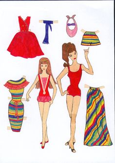 Barbie and Skipper paper dolls and clothes / paaklaed.com