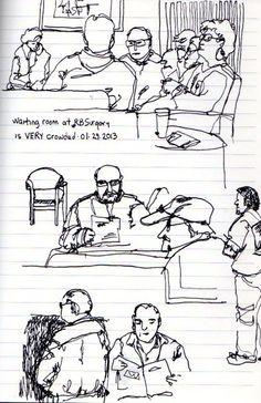 Urban Sketchers: Waiting Room People