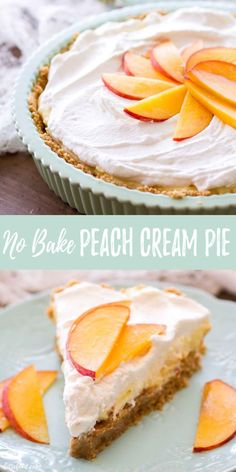 This No Bake Peach Cream Pie is made with fresh peaches, a no bake graham cracker crust, and an easy cream pie filling. This homemade peach pie makes the best easy no bake summer dessert recipe! This no bake peach pie is my new favorite summer dessert! Mini Desserts, No Bake Summer Desserts, Easy Desserts, Easy Peach Pie, Peach Pie Filling, Tiramisu Dessert, Oreo Dessert, Peach Dessert Recipe, Easy Peach Dessert