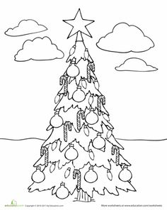 Color by Number Christmas Tree  Color by numbers Worksheets and