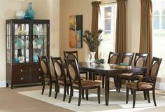Perfect dining room table and festive setting for your turkey dinner -- Mont Blanc 5 Piece Formal Dining Collection