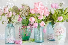 Kitchen Poster featuring the photograph Shabby Chic Cottage Ball Jars And Tulips Floral Photography - Mason Ball Jars Floral Photography by Kathy Fornal