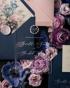 Wedding Inspiration | Wedding Planning | Custom Wedding Invitations | Acrylic Invitations | Navy, Pink & Purple | Invitations: 4 Love Polka Dots