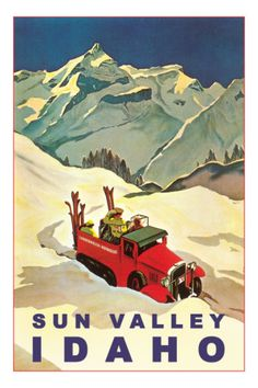 Vintage Travel Poster - Winter Sports - USA -/Sun-Valley-Idaho-Vintage-Truck-with-Skiers