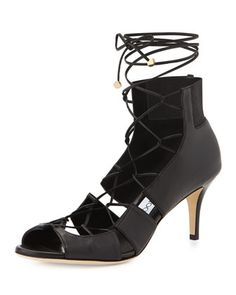 Myrtle Napa Lace-Up Sandal, Black by Jimmy Choo at Neiman Marcus.