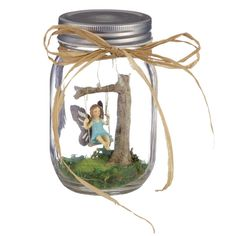 Fairy Garden In An Illuminated Mason Jar (Fairy on a Swing)