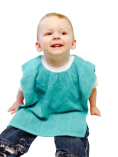 Teal Dish Towel Bib with Stretchy Knit Collar by GopherGirlKids