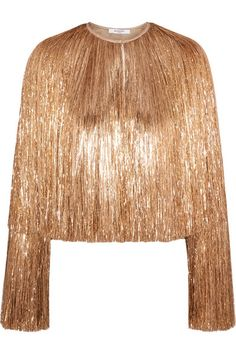 Givenchy | Fringed jacket in gold silk-satin | NET-A-PORTER.COM