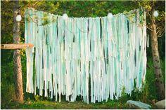rideau de rubans bleu vert mint coin photo photobooth invités mariage