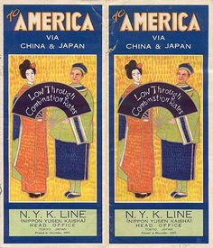 """To America via China & Japan,"" 1927.  Published by the N.Y.K. Line (Nippon Yusen Kaisha).  Printed by the ""Toppen Printing Co., Ltd., Tokyo."