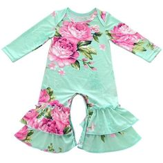 """Spring Ruffle Romper"" Spring ruffle rompers featuring lovely floral patterns or feathers Super cute and comfy Baby Ruffle Romper, Ruffle Pants, Romper Pants, Pants Outfit, Baby Outfits Newborn, Toddler Outfits, Baby Boy Outfits, Baby Girl Christmas Outfits, Floral Romper Long Sleeve"