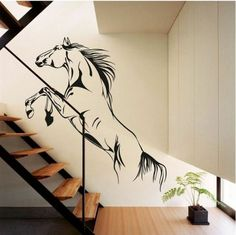 Wall tattoo for hallway - a nice decoration Simple Wall Paintings, Wall Painting Decor, Home Wall Decor, Horse Wall Decals, Cheap Wall Art, Wall Drawing, Music Wall, Cool Walls, Wall Design