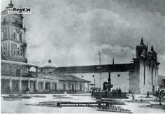 foto antigua del Parque central o Plaza de Armas de Huehuetenango, Guatemala