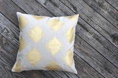 Maya tribal pillow cover hand printed in metallic bronze on taupe hemp