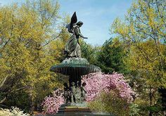 Rising from Bethesda Terrace is Bethesda Fountain, with the famous Angel of the Waters statue atop. The statue references the Gospel of John, which describes an angel blessing the Pool of Bethesda and giving it healing powers.