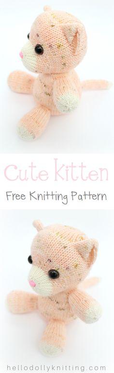 Peaches the Kitten PDF knitting pattern - Childrens Stuffed Toy, Knitted Animal, Cat #knitting #knittingpattern #free #kitten #cat