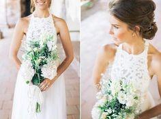 Simple Jewel Sleeveless Wedding Gowns,Chiffon Lace Top Wedding Dress,Lace Halter Bridal Dresses,Tulle Beach Wedding Dress with belt,N28