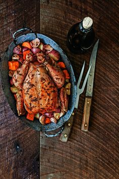 Apple-Stuffed Rosemary Roast Chicken with New Potatoes. This recipe is easy to prepare and the apples that bake inside the chicken give the chicken an incredibly flavorful, fruity taste.