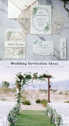 Elegant ivory laser cut wedding invitation with greenery pattern around framed wording EWDM015
