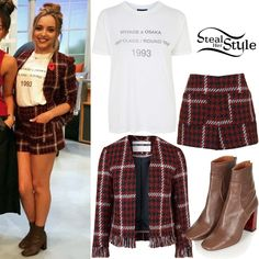 Jade Thirlwall posed with her bandmates at ITV'S Lorraine Show wearing an Osaka Print Tee ($35.00), the Premium Frayed Boucle Jacket ($125.00) and matching Premium Boucle Shorts ($70.00), and a pair of Master Tortoise Heel Boots ($160.00) all from Topshop.