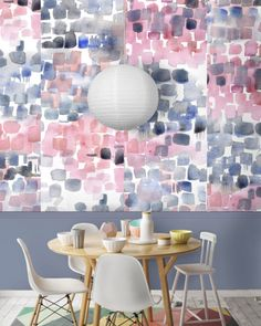 There is currently a rising trend for watercolour wallpaper in interiors. This example is from wallpaper designer Louise Body.