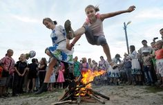 Belarusian girls celebrating Ivan Kupala Night, a traditional Slavic holiday, 270kms south of Minsk in Turov on July